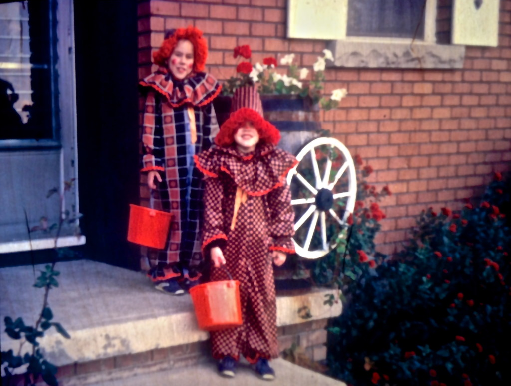 My sister and I in our clown costumes, hand-sewn by our mom. Circa 1982