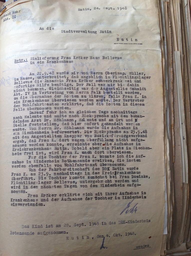 Bellevue/Rothensande/Kreiskrankenhaus letter